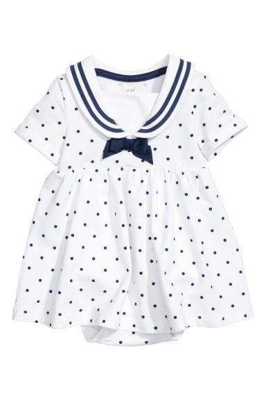 Jersey sailor dress - White/Spotted - Kids | H&M 1