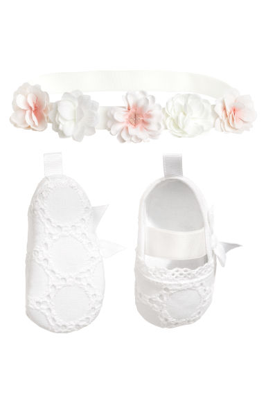 Ballet pumps and hairband - White - Kids | H&M