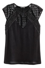 Top with lace - Black - Ladies | H&M CN 2