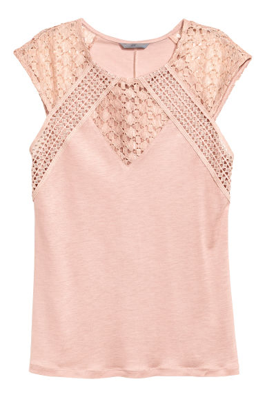 Top with lace - Powder pink -  | H&M 1