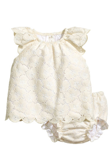 Lace dress with puff pants - Natural white - Kids | H&M