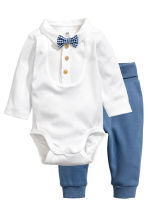 Bodysuit and trousers - White/Blue -  | H&M CN 1