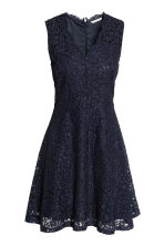 V-neck lace dress - Dark blue - Ladies | H&M CN 2