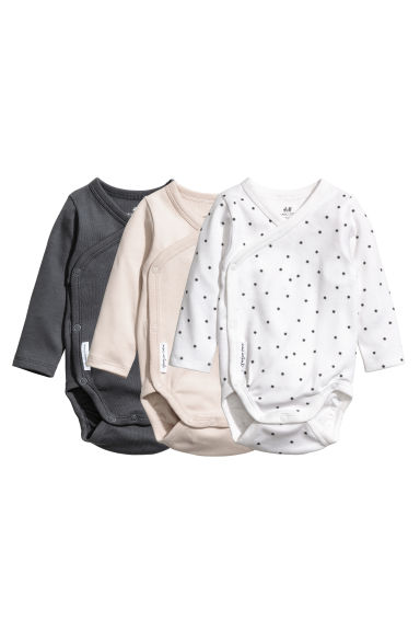 3-pack long-sleeved bodysuits - Dark grey - Kids | H&M CN 1