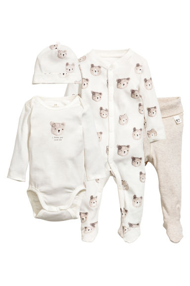 4-piece jersey set - White/Bear - Kids | H&M 1