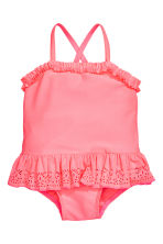 Swimsuit with frills - Neon pink -  | H&M CN 1