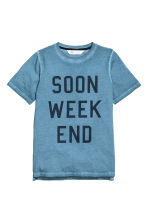 Printed T-shirt - Blue washed out -  | H&M 2