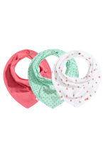 3-pack triangular scarves - White/Strawberries - Kids | H&M 1