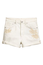 High-waisted denim shorts - White denim -  | H&M 2