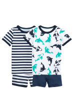 2-pack jersey pyjamas - Dark blue/Striped - Kids | H&M 1