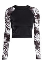 Long-sleeved swim top - Black/White/Patterned - Ladies | H&M CN 2