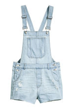 Salopette short en jean - Bleu denim clair - FEMME | H&M BE 2