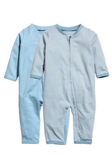2-pack all-in-one pyjamas  - Light blue - Kids | H&M CN 1