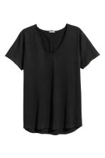 V-neck slub-jersey T-shirt - Black - Men | H&M CN 2