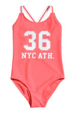 Printed swimsuit - Coral pink -  | H&M 1