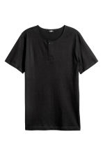 T-shirt with buttons - Black - Men | H&M CN 2