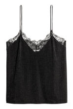 Jersey top with lace - Black - Ladies | H&M CN 3