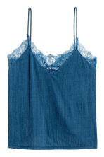Jersey top with lace - Dark blue - Ladies | H&M CA 2