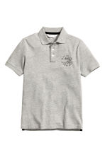 Jersey polo shirt - Grey marl -  | H&M CN 2