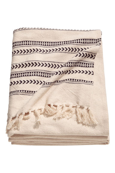 Jacquard-weave bedspread - Natural white/Striped - Home All | H&M CN