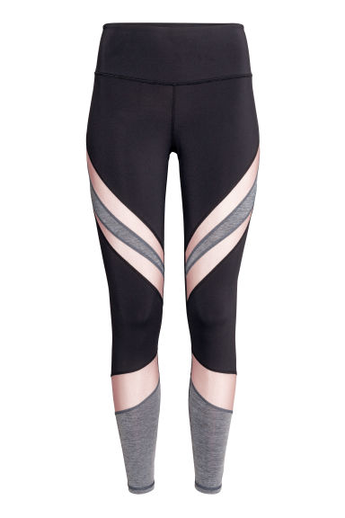 Yoga tights - Black/Powder pink - Ladies | H&M 1