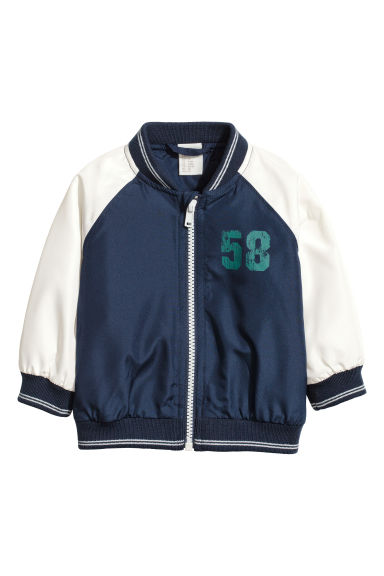 Printed bomber jacket - Dark blue - Kids | H&M CN