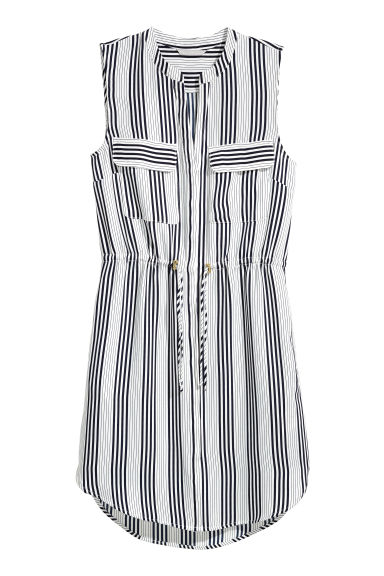 Sleeveless dress - White/Dark blue/Striped - Ladies | H&M 1