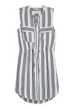 Sleeveless dress - White/Dark blue/Striped - Ladies | H&M CN 1