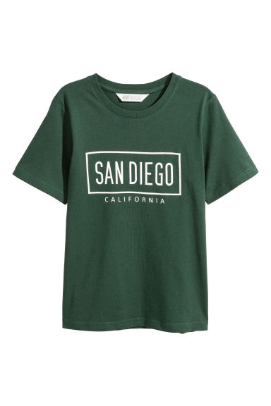 Printed T-shirt - Dark green - Kids | H&M 1