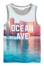 Jersey vest top - Grey/Photo -  | H&M 2