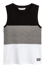 Jersey vest top - White/Block striped -  | H&M 2