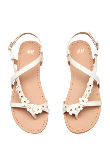 Sandals with flowers - White -  | H&M CA