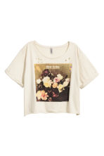 Cropped wide printed T-shirt - Light beige/New Order - Ladies | H&M 2