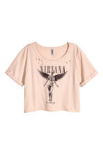 Cropped wide printed T-shirt - Beige/Nirvana - Ladies | H&M CN 2