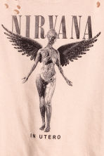Cropped wide printed T-shirt - Beige/Nirvana - Ladies | H&M CN 3