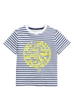 Printed T-shirt - White/Dark blue/Striped - Kids | H&M CA 2