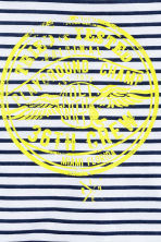 Printed T-shirt - White/Dark blue/Striped -  | H&M CN 3