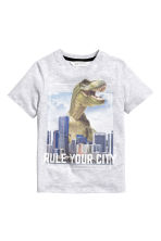 Printed T-shirt - Light grey/Jurassic World - Kids | H&M CN 2