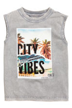 Printed vest top - Grey washed out -  | H&M CA 2