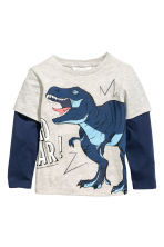 Long-sleeved T-shirt - Light beige/Dinosaur - Kids | H&M 2