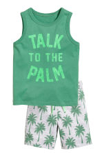 Vest top and shorts - Green - Kids | H&M CN 2