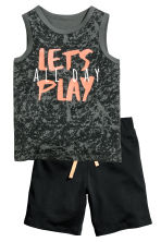 Vest top and shorts - Dark grey/Black -  | H&M 2