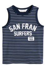 Printed vest top - Dark blue/Striped - Kids | H&M CN 2