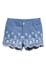 Embroidered cotton shorts - Blue/Chambray - Kids | H&M 2