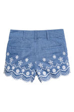 Embroidered cotton shorts - Blue/Chambray - Kids | H&M CN 3