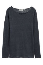 Long-sleeved linen top - Dark blue marl - Ladies | H&M CN 2