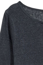 Long-sleeved linen top - Dark blue marl - Ladies | H&M 3