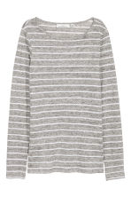 Long-sleeved linen top - Grey/Striped - Ladies | H&M CN 2