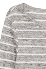 Long-sleeved linen top - Grey/Striped - Ladies | H&M CN 3