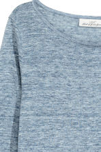 Long-sleeved linen top - Blue marl - Ladies | H&M 3